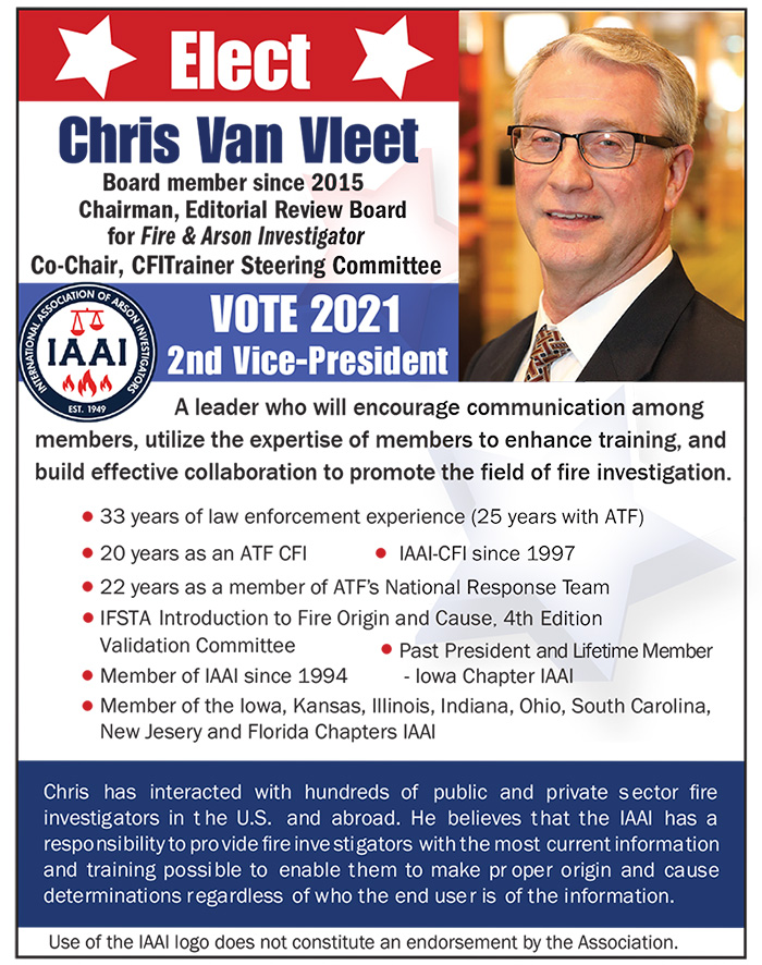 Van Vleet for 2021 IAAI 2nd VP