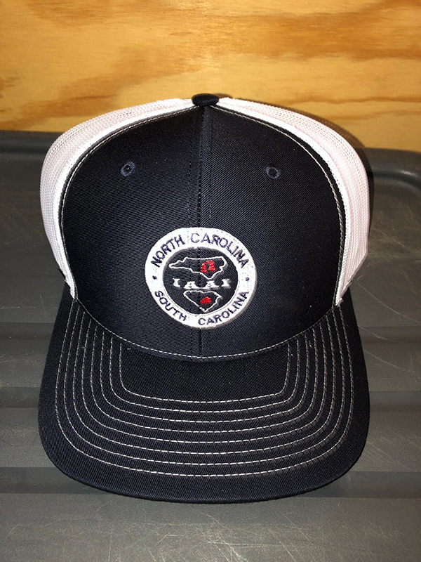 blue truckers joint chapter hat